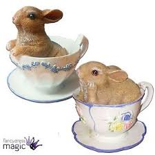 gisela graham mini bunny rabbit teacup cup saucer set of 2 easter