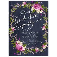 grad party invitations floral bouquet wreath blue chalk graduation party invitations