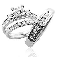 wedding ring set his and hers trio wedding ring set his and rings white gold