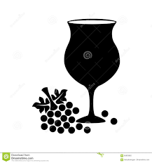 wine glass silhouette silhouette cup wine with grapes stock vector image 85803862