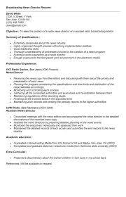 Journalism Resume Media Broadcasting Resume Career Specific Broadcast Media Resume