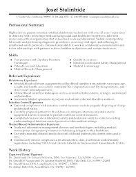 Medical Laboratory Technologist Resume Sample by Phlebotomy Technician Resume Resume For Your Job Application