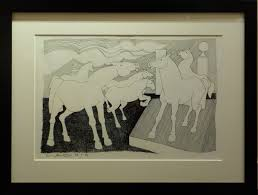 horses by geoffrey key silkscreen limited edition print