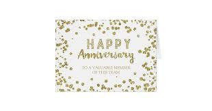 work anniversary cards gold confetti employee anniversary card zazzle