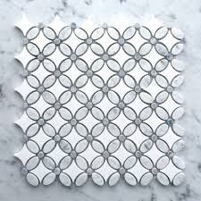 kitchen backsplash gray and white flower marble mosaic 13in x