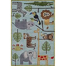 Kids Animal Rugs Amazon Com Momeni Rugs Lmojulmj19blu4060 Lil U0027 Mo Whimsy