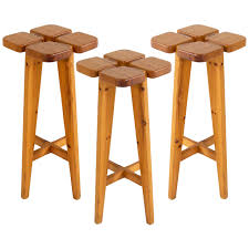 Solid Pine Table Set Of Three Bar Stools By Lisa Johansson Pape In Solid Pine For