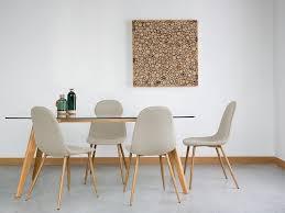 sedie sala da pranzo moderne set di 2 sedie moderne da pranzo in legno e tessuto beige bruce