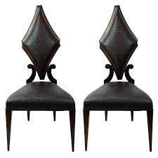 Art Deco Style Pair Of Art Deco Style Side Chairs In Faux Alligator By