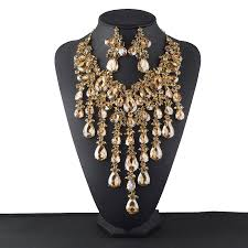rhinestone necklace sets images New statement rhinestone jewelry sets bridal wedding necklace jpg