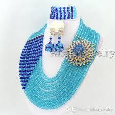 blue crystal necklace set images 2018 sky blue royal blue crystal necklace set african beads jpg
