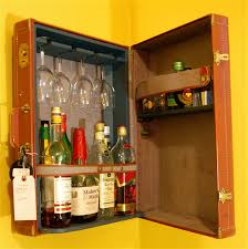cool modern liquor cabinet in l shaped decorated with brick stone