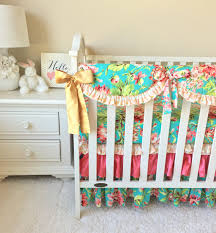 Floral Crib Bedding Sets Coral Floral Crib Bedding Coral Baby Bedding Gold Bumperless