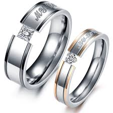 matching wedding bands titanium steel promise ring wedding bands matching set