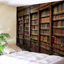 retro bookrack print wall art tapestry brown w inch l inch in