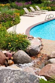 Landscaping Around Pools by Filter Your Water Through A Faux Waterfall That Flows Into The
