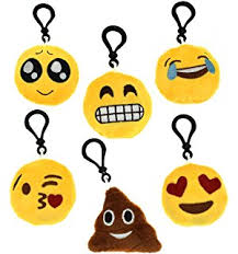 amazon com emoji keychain round faces set of 10 cute sweet soft