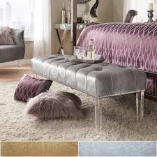 Overstock Bedroom Benches Anya Velvet Nailhead Button Tufted Acrylic Leg Bench By Inspire Q