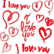 set of brush strokes and scribbles in heart shapes and words i