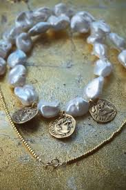 coin jewelry necklace images Baroque pearl gold coin necklace pillow book design jpg