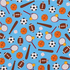 sports wrapping paper blue robert kaufman football basketball sport fabric children