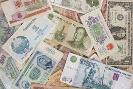 money around the world from different times mixed stock photo