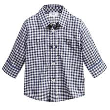 boss baby boys navy blue gingham shirt childrensalon
