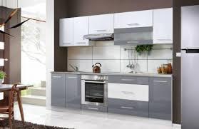 einbau küche küche einbauküche hochglanz farbe grau weiß 8tlg 260cm neu in
