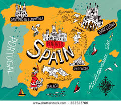 map of spain illustrated map spain stock vector 383523706