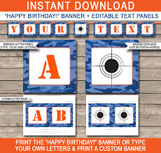 nerf printables blue camo editable birthday party templates