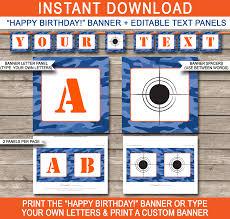Happy Halloween Banner Printable Nerf Printables Blue Camo Editable Birthday Party Templates