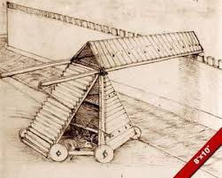 leonardo da vinci cattle driven seige war machine sketch real