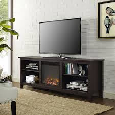 espresso wood tv stand with fireplace with adjustable shelving and