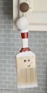 paint brush santas homemade christmas ornament