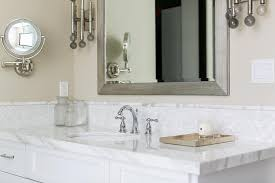 Oval White Marble Mosaic Tiles Transitional Bathroom