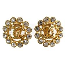 button earrings chanel vintage gold metal rhinestone large flower evening stud