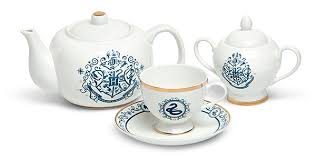 teapot set harry potter blue and gold new bone china tea set thinkgeek