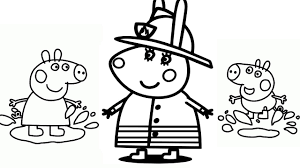 draw peppa pig u0026 rabbit fireman coloring pages kids