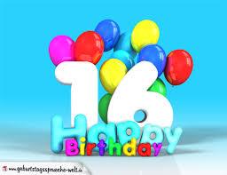 16 geburtstag sprüche lustig 16 geburtstag bild happy birthday mit ballons