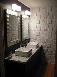 gray wall paint mirror without frame white granite countertop