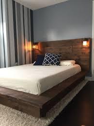 Bed Frame Wood Floating Wood Platform Bed Frame With Lighted Headboard Quilmes