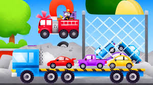 monster trucks video for kids tow trucks for kids cars firefighters red car police car