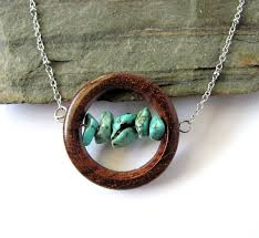 wood jewelry necklace images Wooden jewelry wire wrapped copper sea glass stones bead necklace jpg