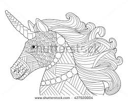 Head Unicorn Coloring Book Adults Vector Stock Vector 427920004 Unicorn Coloring