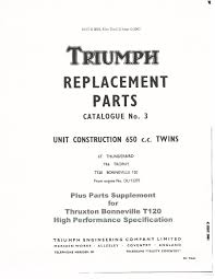 triumph parts manual book 1965 6t thunderbird tr6 trophy u0026 t120