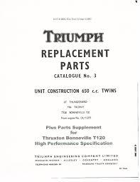 triumph parts manual book 1965 6t thunderbird tr6 trophy u0026 t120