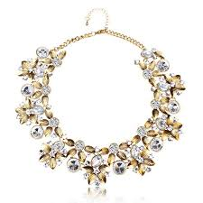 statement necklace with flower images Vintage crystal flower chunky collar choker statement necklace at jpg