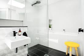 splashy hexagon tile in bathroom contemporary with tile sink next