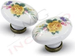 pomelli per cucina pomolo pomello 670 11 fiore giallo porcellana ceramica ovale base