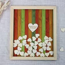 heart guest book personalize wedding guest book rustic wooden frame hearts